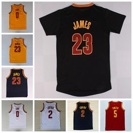 Wholesale Best Quality LeBron James Jersey Kevin Love Kyrie Irving Shirt Uniforms Jr Smith with sleeve Black Navy Blue White Red Yellow