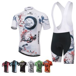 Wholesale Bamboo White Bike Cycling Jerseys Anti Bacterial Quick Dry Breathable Short Biker Clothing with Tops Suspender Pants for Adult dtz15