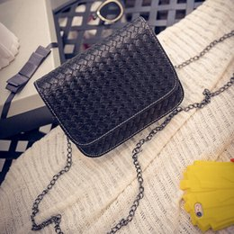 2016 Korean new weaving chain small bag chain shoulder bag cross body bag women messenger bag