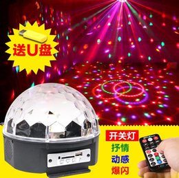Remote control mp3 music LED new crystal magic ball laser stage light KTV discus rotating acoustic flash