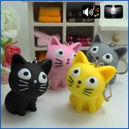 Wholesale 2016 cute Cheese cat keychain with Meow sound kawaii led keyring Children gift Valentine s day gifts