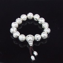 Wholesale Flaxible Beaded Bracelets Antique Silver Men s Silver Bracelet Sterling Silver Jewelry YSB004