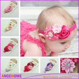 2016 New arrival Baby Girls Kids headband Flowers Hair Accessories Lovely Roses Pearls Hair Bands Pretty Headbands Infant Headbands 8 styles