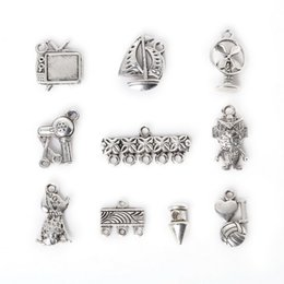 Free shipping New Wholesale 114pcs Mixed Antique Silver Plated Zinc Alloy TV Rivet Charms Pendants DIY Metal Jewelry Findings jewelry makin