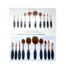 Wholesale 10pcs In the Box Beauty Toothbrush Shaped Foundation Power Makeup Oval Cream Puff Brushes sets Oval Brushes