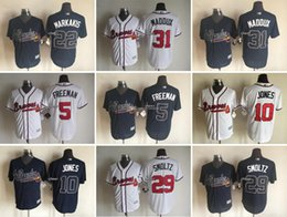 Wholesale Men s Atlanta Braves Nick Markakis Greg Maddux Freddie Freeman Chipper Jones John Smoltz Cool Base Jerseys Top Quali