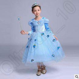 Cenicienta niños vestido del partido en Línea-Copo de nieve vestido de la princesa del diamante Cosplay traje de los niños de las muchachas del partido de arena cenicienta suposición de la mariposa del vestido de bola del vestido de la princesa CCA5175 100pcs