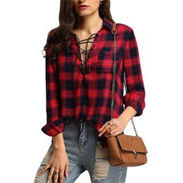 Woman Shirts 2016 Summer Style Casual Deep V Neck Women's Tops Lapel Red Check Chest Pocket Lace Up Blouse