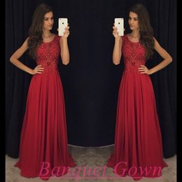 2016 Luxurious Crystals Evening Dresses Cap Sleeves A-line Chiffon Evening Gowns Red Elegant Formal Prom Dresses