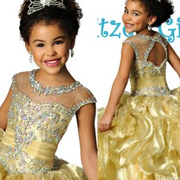 Wholesale 2016 Glitz Ritzee Girls Pageant Dresses Sparkly Gold Beaded Crystal Ruched Organza Little Girls Prom Dresses Cheap Flower Girls Dresses