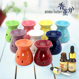 Wholesale Ceramic Fragrance Oil Burners Lavender Aromatherapy Scent Candle Essential Gift Olio In ceramica Candle Lamps