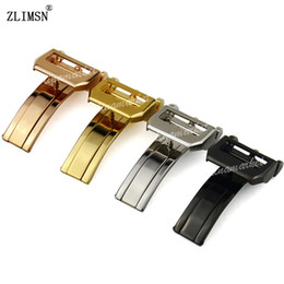 18mm Fold Watch Band Clasp NEW HQ SS Silver Black Rose Gold strap Deployment Clasp (without logo)