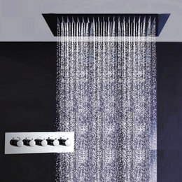 Wholesale kaiping factory supply X600mm big shower mixers rainfall and water curtain multiple function recessed bathroom shower set