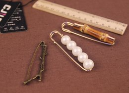 Wholesale Mens Ladies Metal Pin Brooch Twig Bamboo Pearl Shaped Vintage Suit Wedding Decor Fine Jewelry New