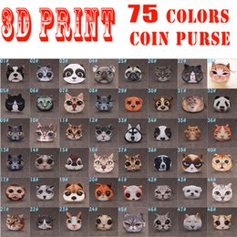 Wholesale 75 Colors D Printing Dogs Cats Coin Purses For Children Cute Animals Print Cluth Bags Women Soft Plush Mini Wallets Girls Pouch
