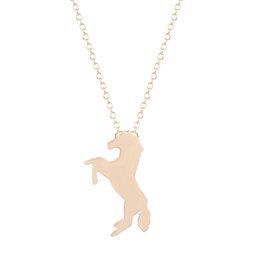 Wholesale 10pcs New Style Running Horse Necklaces Thin Chain Animal Necklace For Women Fashion Jewelry Colgantes