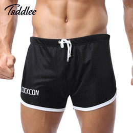 Wholesale-2016 New Mens Sport Shorts Cotton Men Sports Trunks Brand Casual Summer Fitness gym men workout Running Yoga Boxer Shorts Trunks