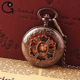 Wholesale GR Antique Metal Hollow Out Flower Big Size Black Mechanical Pocket Watch Chain cm Value Quality relogio de bolso