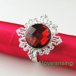 Tracking Number -100Pcs High Quality Crimson Red Gem Napkin Ring Napkin holder Wedding Party Wedding Bridal Shower Favor