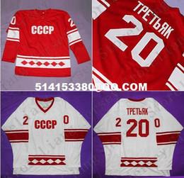 Edición de lujo # 20 Vladislav Tretiak 1980 CCCP Rusia JERSEY, Rusia Camiseta de hockey sobre hielo olímpica Red White Mens Stitched jerseys desde maillot olímpico rusia fabricantes