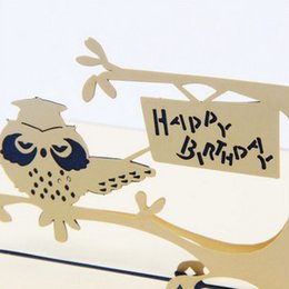 Wholesale Three dimentional thirthday card owl feature desigin happy birthday greetings card quot x0 quot