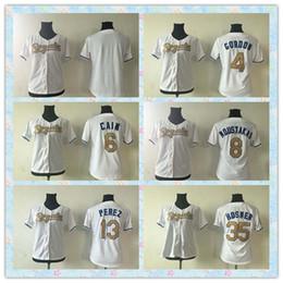 Dame ville à vendre-Rapide Femmes Kansas City Royals 2016 Baseball Jersey # 13 Salvador Perez Ladies White World Champions Series jerseys Programme d'or