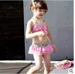 Girls Bikini Suit With Cap Kids Leopard Grain Bikini Fission Of Pink Girls Suit Children's Big Size Swimsuit 2016 Summer
