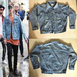 Wholesale Best Quality Kanye West Fear Of God jackets for men Light Blue Denim Jackets Mens Vintage Style Selvedge Jean Coats Designer Brand Clothing