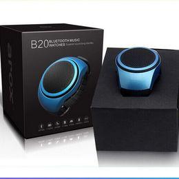 Wholesale 20pcs B20 Smart Watch With Self timer Anti Lost Alarm Music Sport Mini Bluetooth Speaker Support TF Card FM Radio