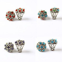 Bouquet Flower Crystal Charm Bead Fashion Women Jewelry Stunning Design European Style For Pandora Bracelet Bangle