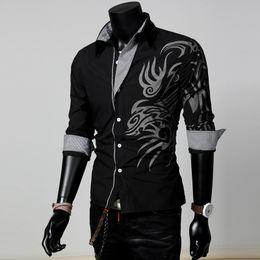 Wholesale 2016 Large Size Explosion Models Fashion Chinese Style Dragon Shirt men s Fashion Casual Long sleeved Shirt Slim Men s Shirts