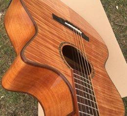 Promotion acoustique de érable flammé bois d'érable flamme Okoumé gros-Hand-made électro-acoustique 40inch guitare