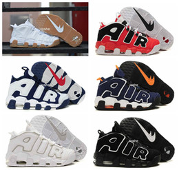 Wholesale 2017 Air More Uptempo OG White Gum Olympic Mens Basketball Shoes Top Quality Big Air Pippen Athletic Sport Sneakers Eur