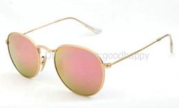 Gafas de sol de color rosa en Línea-Gafas de sol rojas del metal de los vidrios del diseñador de los hombres del womem de las gafas de sol de la lente del color del color del marco de ORO 10pcs / lot