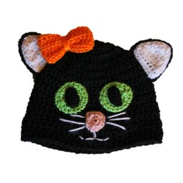 Wholesale Super Cool Scary Cat Hat with Orange Bow Handmade Crochet Baby Girl Kitty Cat Animal Beanie Kids Halloween Costume Infant Toddler Photo Prop