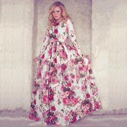 New 206 Women Summer Maxi Dress Long Sleeve O-neck Red Vintage Flower Print Party Long Dress vestidos longos