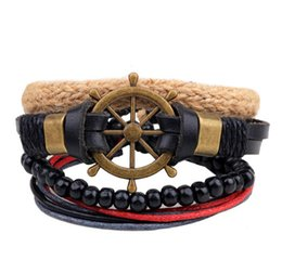 Wholesale 2016 new star with a street fashion multi circle hand bead string Beaded woven veneer wood boat helmsman DIY Bracelet