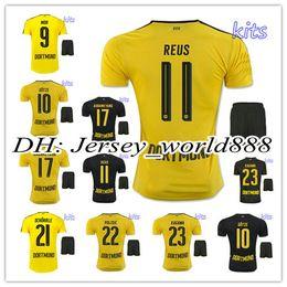 Wholesale best quality Dortmund home yellow soccer jersey Kits AUBAMEYANG GOTZE MOR KAGAWA REUS SAHIN away black football shirt