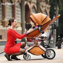 Wholesale HotMom Brand Fashion PU Leather Baby Stroller Pushchair Egg Shaped Pram Baby Child Shock Wheels Children Trolley Baby Carriage