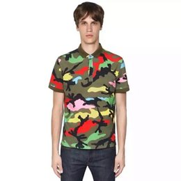 Wholesale summer style Camouflage Europe tide brand Military male camouflage tino fashion men women Lapel short sleeve Polos