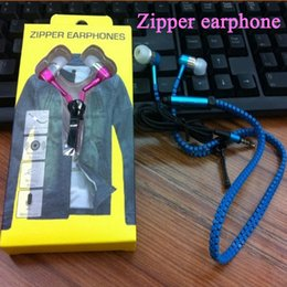 New Earphone Zipper Headset 3.5MM Jack Bass Earbuds In-Ear Zip Headphone for Iphone Samsung Phone PC MID Ipod MP3 MP4 Player