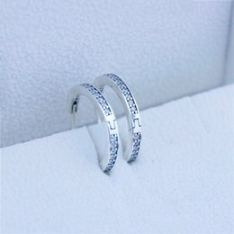 Wholesale Authentic Sterling silver hoop earrings with Clear Cubic Zirconia Earrings for Women Compatible With Pandora jewelry new pair