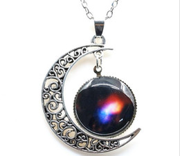 Wholesale 2016 New Vintage starry Moon Outer space Universe Gemstone Pendant Necklaces