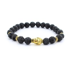 New male bracelet Natural Stone Alloy silver gold Buddha 8 mm beads with volcanic rock men Jewelry Lava Yoga Bracelets gift