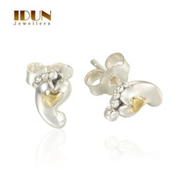 Wholesale 925 Sterling Silver Stud Earrings Baby Foot Feet K Gold Earrings New Arrival For Mum Son Daughter Birth Birthday Gift ER1008