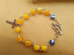 Fashion Religious Jewelry 8 MM Yellow Plastic Beads Metal Cross Rosary Bracelets For Women New Wholesale