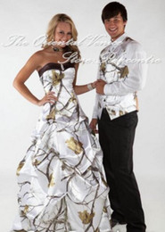 Wholesale Cheap White Snow Realtree Camo Wedding Dresses Vest New Strapless Long Camouflage Bridal Gowns Robe de marriage