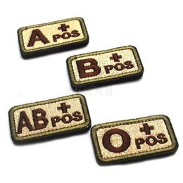 Wholesale 50 D Embroidery badge A B O AB blood type patch Morale Patch Military badges tactical patches for cap jacket free ship
