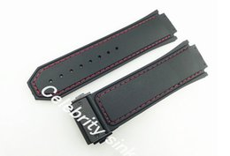 30mm New High Quality Red Stitched Black Silicone Rubber Watch BAND Strap