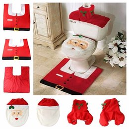 Wholesale 4pcs Fancy Santa bathroom toilet seats cover toilet seat cover and rug bathroom set christmas decorations happy santa toilet seat